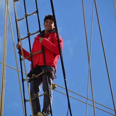 Student on tall ship